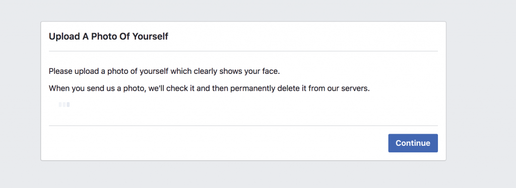 Facebook screen asking for a photo of myself