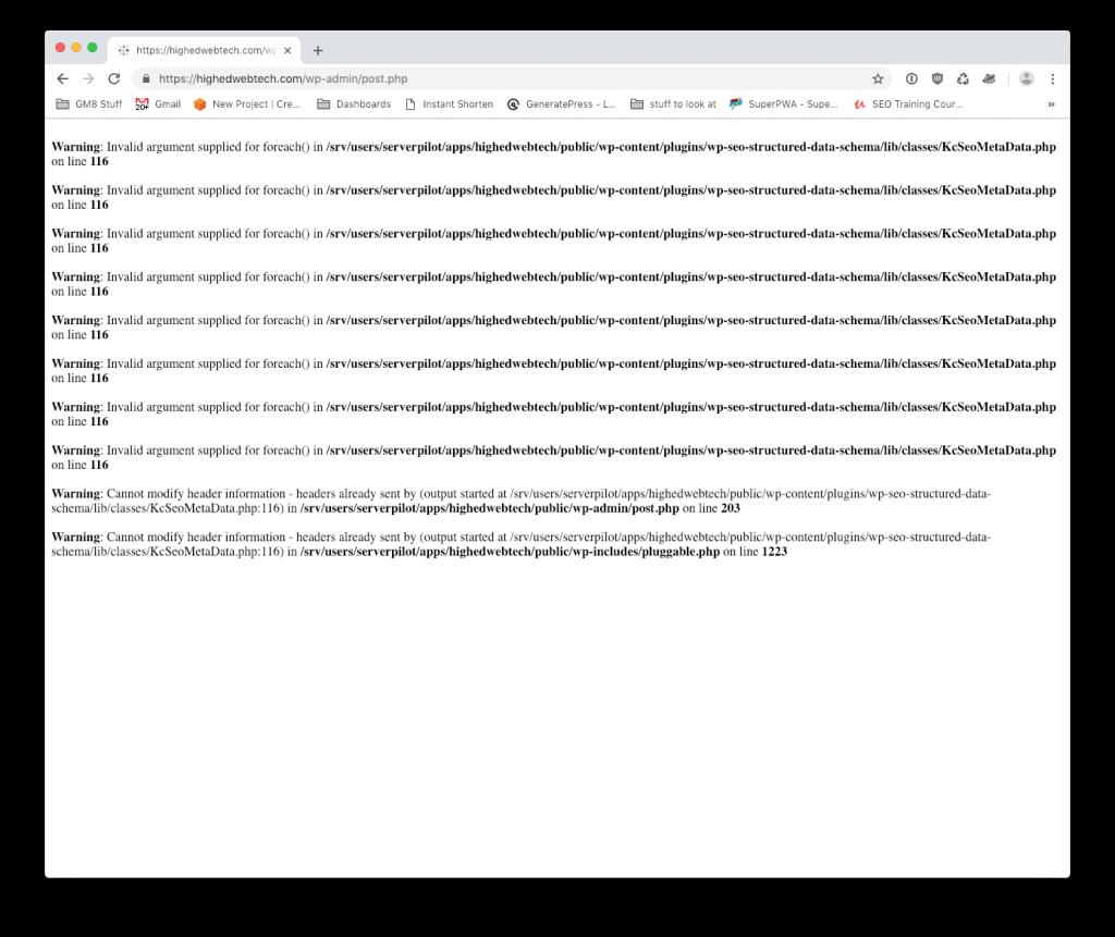 Screenshot of PHP error screen
