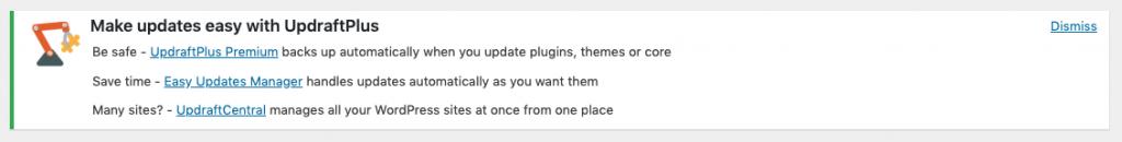 Screenshot from Updraft Plus Nag message